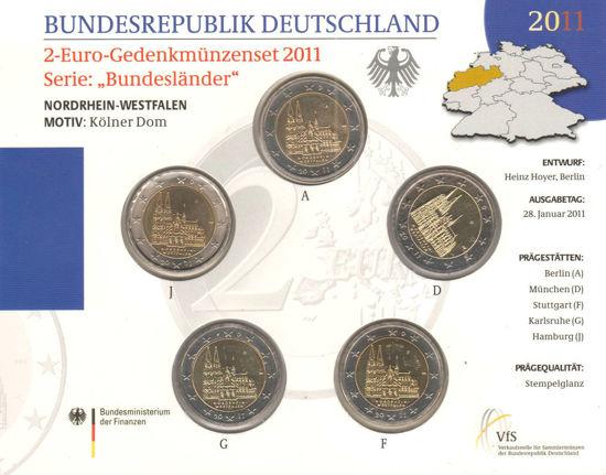 Picture of Германия 2 евро 2011, Федеральные земли Германии: Северный Рейн-Вестфалия (в блистере)