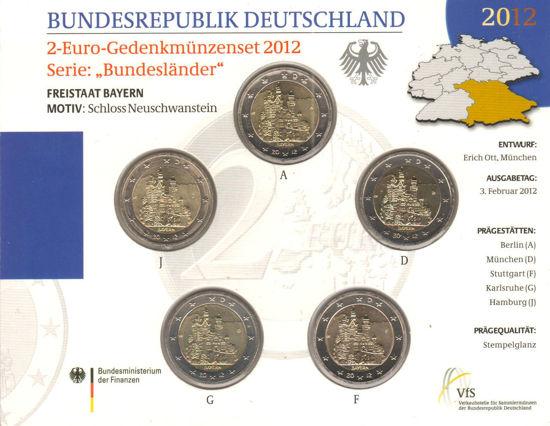 Picture of Німеччина 2 євро 2012, Федеральні землі Німеччини: Баварія (в блістері)