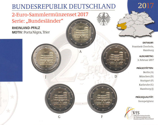 Picture of Німеччина 2 євро 2017, Федеральні землі Німеччини: Рейнланд-Пфальц (в блістері)