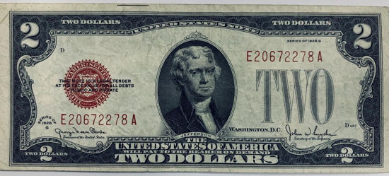 Picture of 2 долари США 1928 року - TWO DOLLARS