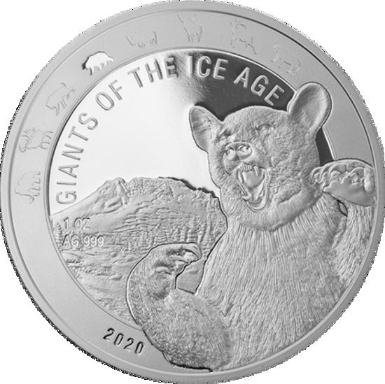 """Picture of Серия монет """"Гиганты Ледникового периода на Земле"""" пещерный Медведь 31,1 грамм 2020"""