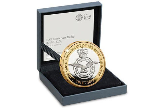 Picture of Англия, Великобритания 2 фунта 2018. 100 лет Королевских ВВС. Эмблема. Серебро 12 гр.