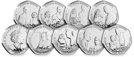 Picture of Острів Мен 50 пенсів 2017, Набір 8 монет, Платиновий ювілей