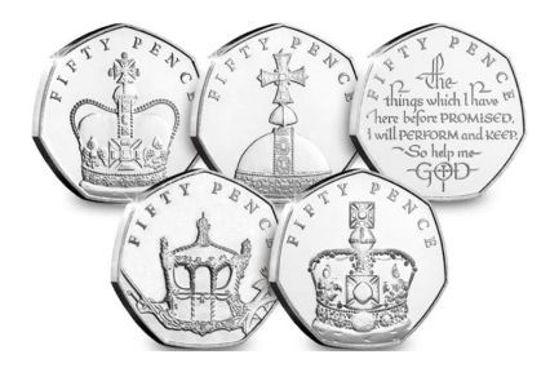 Picture of Острів Мен 50 пенсів 2018, Набір 5 монет, сапфірове ювілей Її Величності