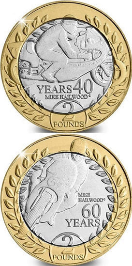 Picture of Острів Мен 2 фунта 2018, 2 монети, Автогонщик і мотогонщик - Майк Хейлвуд