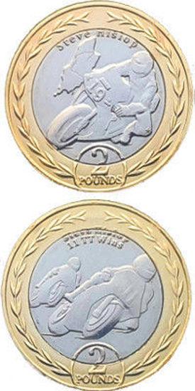 Picture of Острів Мен 2 фунта 2019, 2 монети, Автогонщик і мотогонщик - Стів Хіслоп