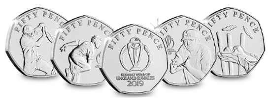 Picture of Острів Мен 50 пенсів 2019, Набір 5 монет, Чемпіонат світу з крикету 2019