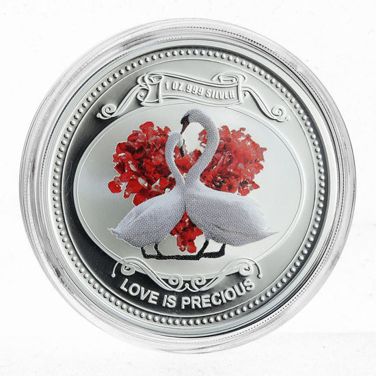 """Picture of Срібна монета """"Кохання Дорогоцінне - Білі Лебеді"""" 31,1 грам 2010 р."""