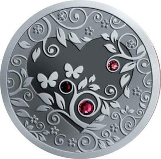 """Picture of Срібна монета """"Моє Серце"""" з кристалами Сваровськи 28,28 грам 2010 р."""