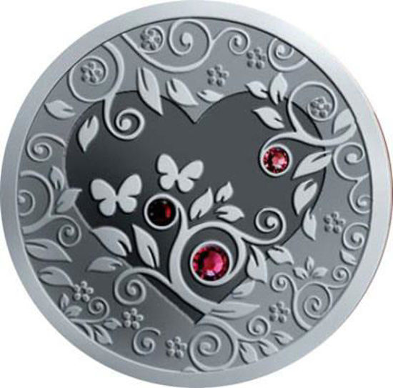 "Picture of Серебряная монета ""Мое Сердце"" c кристалами сваровски 28,28 грамм 2010 г."