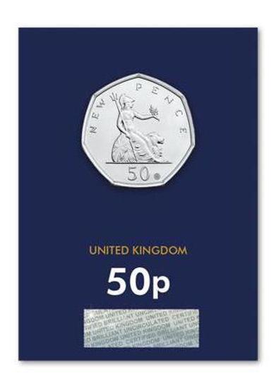 Picture of Англия, Великобритания 50 пенсов 2019. 50 лет 50 пенсам СО ЗНАКОМ. Блистер, BU