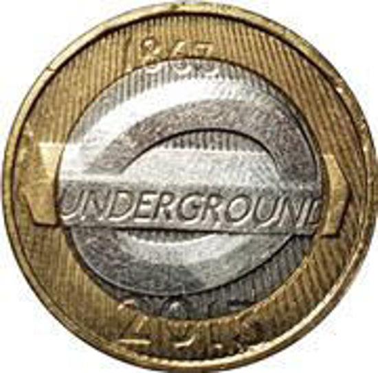 Picture of Англия, Великобритания 2 фунта 2013. 150 лет Лондонскому метрополитену. Эмблема