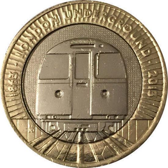 Picture of Англия, Великобритания 2 фунта 2013. 150 лет Лондонскому метрополитену. Поезд