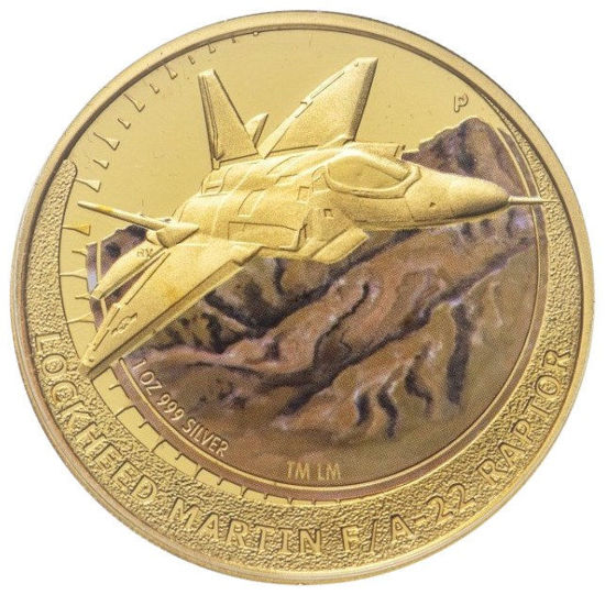 "Picture of Позолоченная серебряная монета ""Самолет LOCKHEED MARTIN F / A-22 RAPTOR""   31,1 грамм Тувалу 2006"