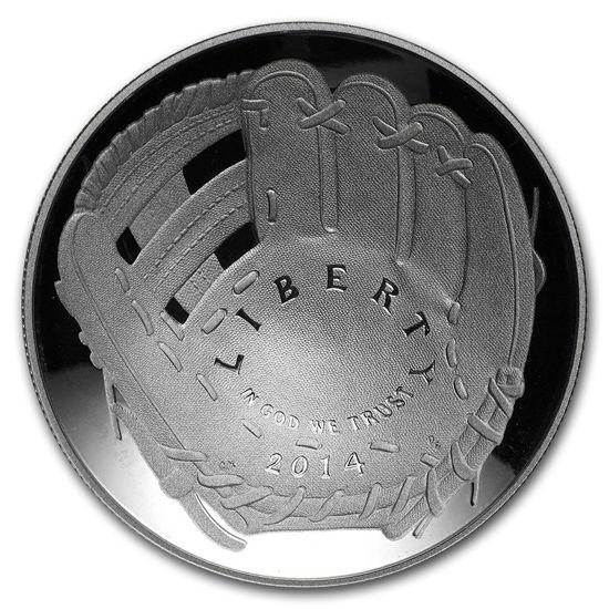 """Picture of Серебряная монета """"Национальный зал славы бейсбола"""" 1 доллар США Proof 2014"""