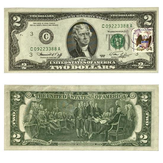 "Picture of 2 долари США 1976 р. номер - ""С 09223388 А"""
