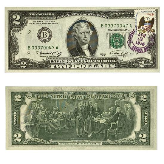 "Picture of 2 долари США 1976 р. номер - ""В 03370047 А"""
