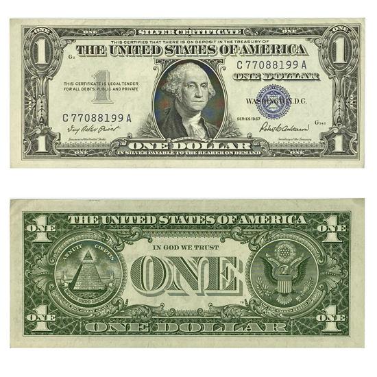 "Picture of 1 доллар США номиналом 1957 г. ""номер - C 77088199 A"""