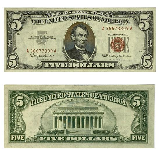 """Picture of 5 долларов США 1963  """"номер - рандомный"""""""
