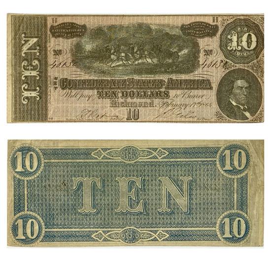 Picture of Банкнота Конфедерації 10 доларів 1864 р.