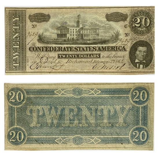 Picture of Банкнота Конфедерации 20 долларов 1864 г.