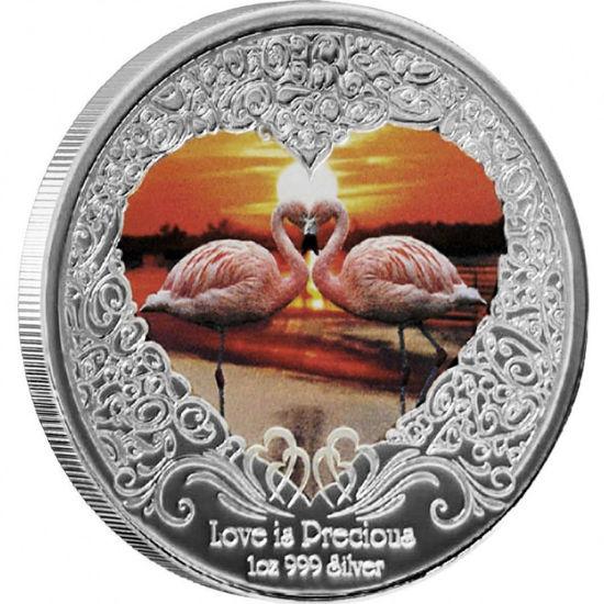 "Picture of Серебряная монета Фламинго ""Любовь драгоценна  ""Love is Precious""  31,1 грамм 2011"