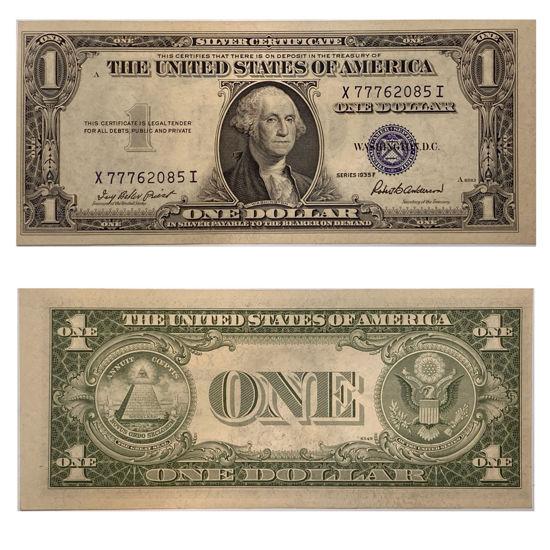 "Picture of 1 долар США 1935 F ""номер - X 77762085 I"""