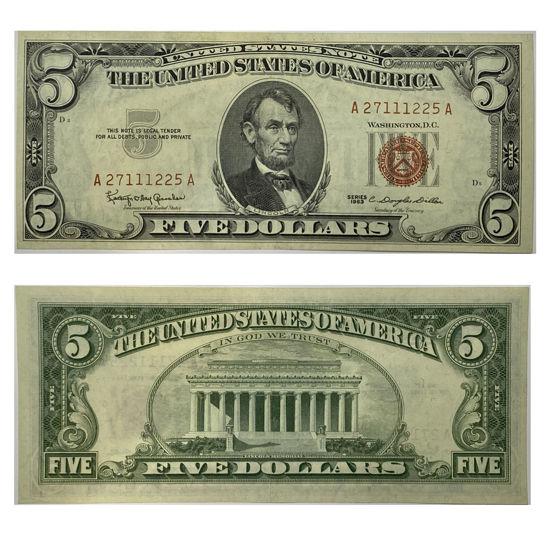 "Picture of 5 долларов США 1963  ""номер - А 27111225 А"""