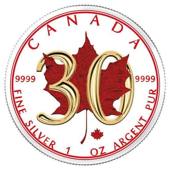 """Picture of Серебряная с позолотой монета """"Кленовый Лист 30-летие """" Канада 31,1 грамм"""