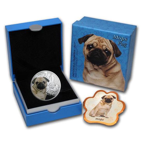 """Picture of Срібна монета """"Мопс"""" серія """"Кращі друзі людини - собаки"""" 17,50 грам"""