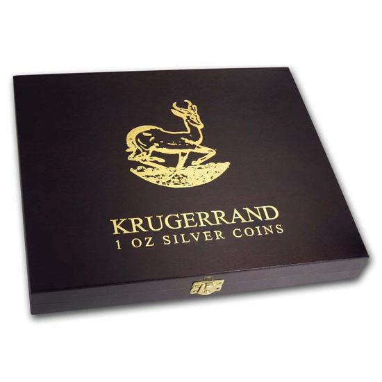 """Picture of Дерев'яна коробка 1 oz """"Південноафриканські срібні Крюгерранди"""" для 20-ти монет"""