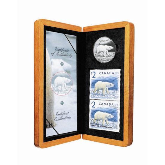 """Picture of Набор серебряная монета и марки """"Гордый белый медведь"""" 8.8 грамм США 2004 г."""