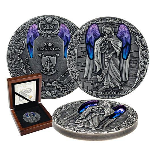 "Picture of Серебряная монета с витражами ""Архангел Гавриил"" Ангел. 62,2 грамм 2020 г"