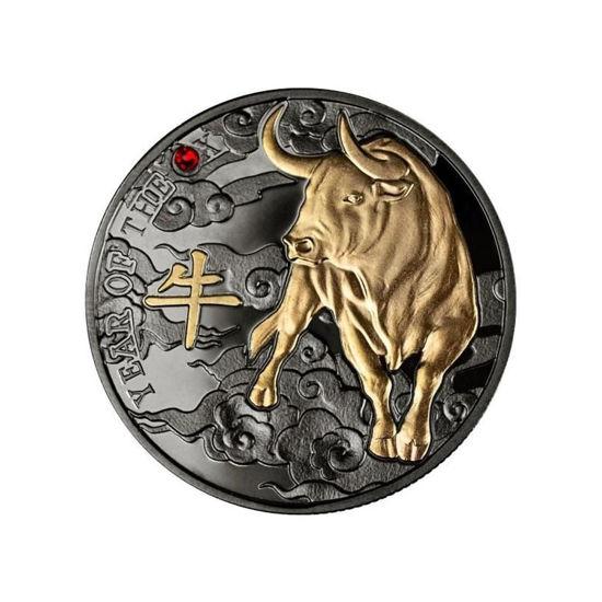 """Picture of Срібна монета """"Рік Бика""""  з покриттям рутенієм  2021 р."""