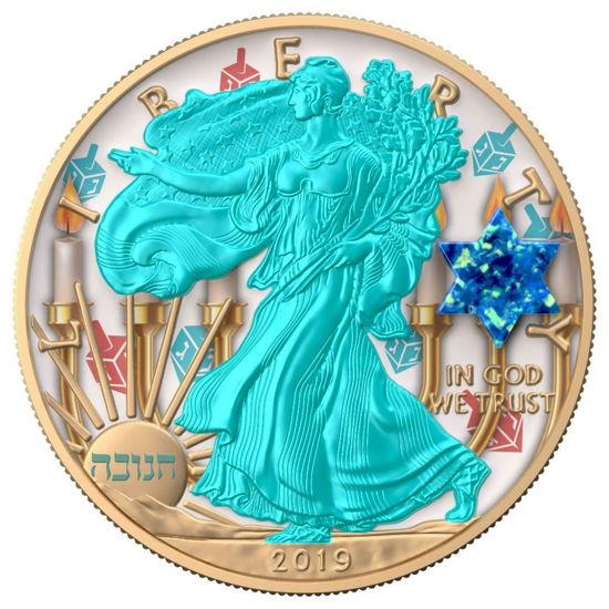 "Picture of Срібна монета Liberty ""Єврейське свято Ханукка - HANUKKAH"" 31.1 грам 2019 США"