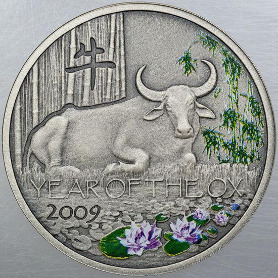 """Picture of Срібна кольорова монета """"Рік Бика"""" Ніує 31,1 грам"""