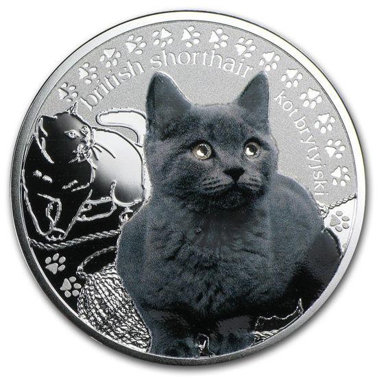 """Picture of Серебряная монета """"Британский кот"""" серия Лучшие друзья человека - кошки"""