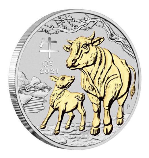 """Picture of Серебряная монета Австралии с позолотой """"Lunar III - Год Быка"""" 31,1 грамм 2021 г."""