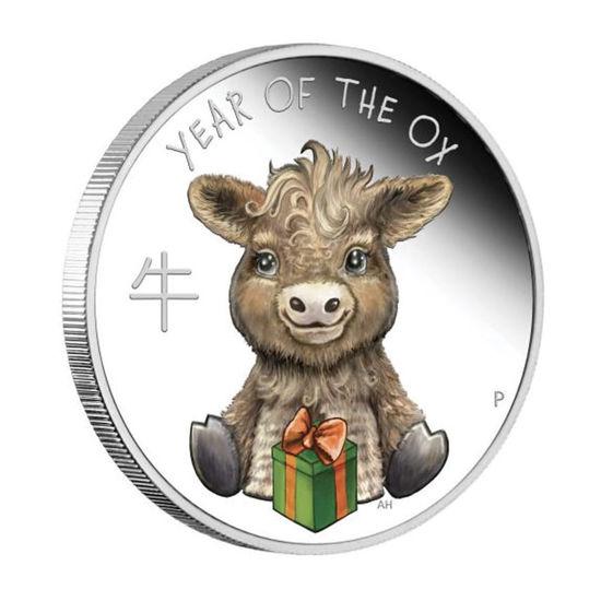 """Picture of Серебряная монета  """"Телёнок - Бык"""" 15.55 грамм 2021 г."""