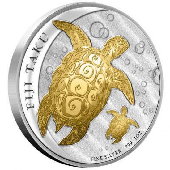 "Picture of Позолочена срібна монета ""FIJI TAKU Черепаха Хоксбілл"" 31,1 грам 2012"