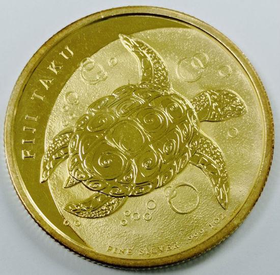 "Picture of Позолоченная серебряная монета ""FIJI TAKU Черепаха Хоксбилл"" 31,1 грамм 2011"