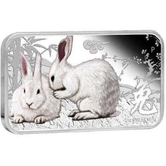 Picture of Срібна прямокутна монета «Рік кролика» 1$ 2011 31,1 грам