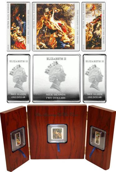 """Picture of Набір монет """"ВІДНОВЛЕННЯ ХРЕСТА"""" Триптих Рубенса  2012 р."""