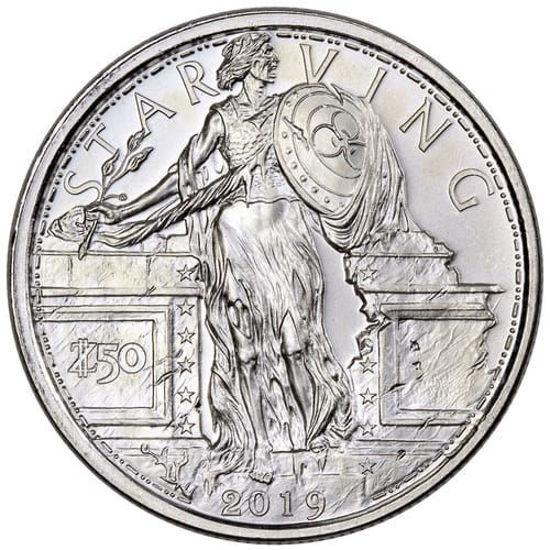 """Picture of Срібний раунд """"Зомбі валюта апокаліпсису - Голодна свобода"""" 31.1 грам"""