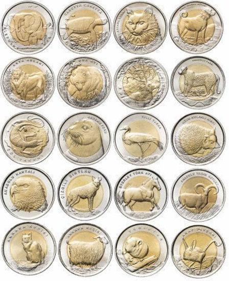 """Picture of Туреччина повний набір з 20 монет 1 ліра 2009-2016 """"Червона Книга"""""""