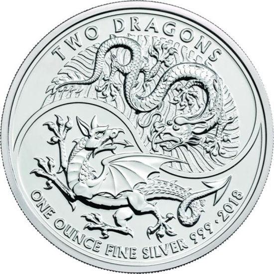 "Picture of Серебряная монета ""Два дракона"" 31,1 грамм Великобритания 2018"