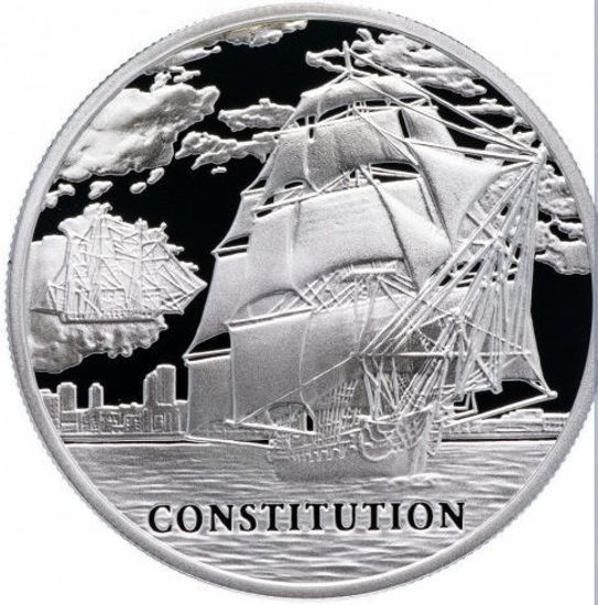 """Picture of Срібна монета """"Корабель Констітьюшн""""  28,28 грам 2010 р. Білорусь"""