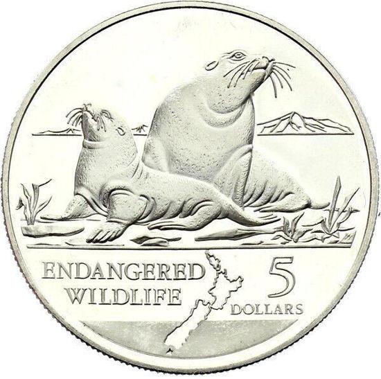 Picture of Новая Зеландия 5 долларов 1993, Морские львы, Серебро 31,47 гр.