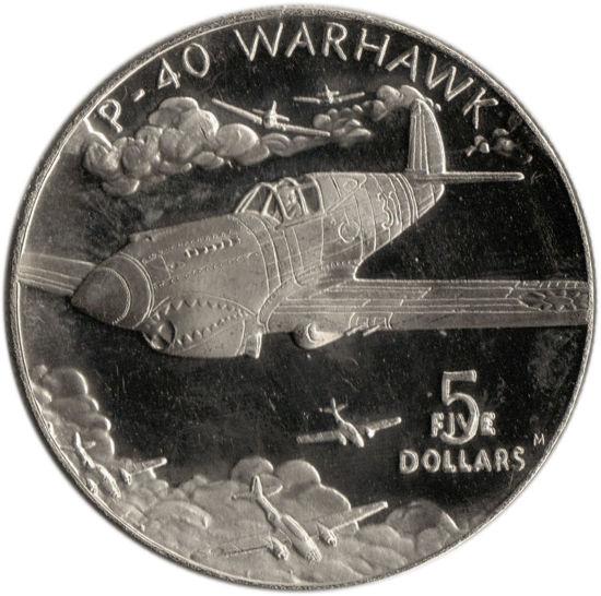 Picture of Маршаллові острови 5 доларів 1991 року, Літаючі тигри P-40 Warhawk (в запайці)