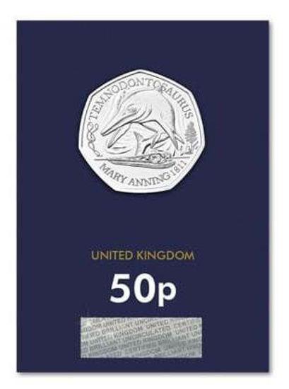 """Picture of Англія, Великобританія 50 пенсів 2021. темнодонтозавр. Серія """"Відкриття Мері Еннінг"""". Блістер, BU. І тип"""